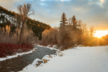 Winter sunbeams along the Weber River, Utah, USA.
