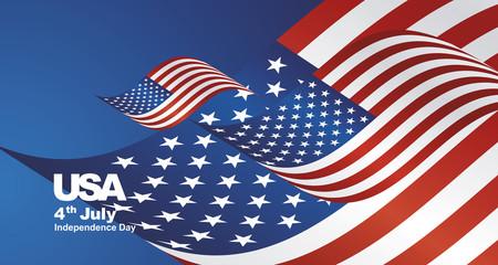 Independence Day USA flag ribbon landscape background greeting card