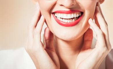 Woman's beautiful white smile.