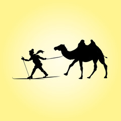 Skier and camel. Desert silhouettes, vector illustration of human pulling animal.