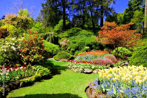 Butchart Gardens, Victoria, Canada. Colorful flowers of the sunken ...