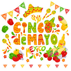 Cinco de mayo funny lettering with letters as maraca and wearing sombrero or mexican hat. Latin american celebration of 5th of May with flags and flowers, cactus. Festive Mexican clipart