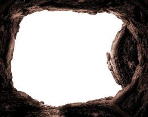 Resurrection concept: Empty tomb stone isolated on white background