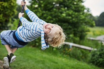 Child on a zip wire in the park