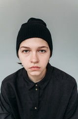 Portrait of androgynous person