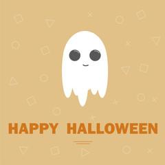 Cute ghost, flat design halloween banner, vector illustration