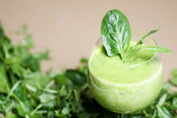 Green, detox, vegetable juice with spinach, wild rocket, avocado and lettuce. Healthy smoothie.