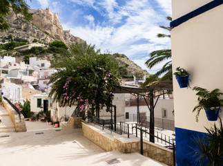 the quaint old quarter at the foot of the Santa Barbara castle in Alicante, Spain