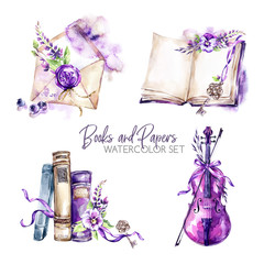 Watercolor borders set with old books, envelope, key, violin, flowers and berries. Original hand drawn illustration in violet shades. Summer design. ClipArt elements. Scrapbooking collection.