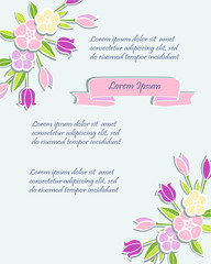 Template with flowers for party invitation, greeting card, postcard, girl birthday, Mother's Day, Woman's Day, Warm Season Card. Vector illustration.