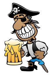 Pirate Cartoon Character with Peg Leg, Eye Patch and Beer