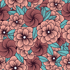 simple floral ornament pattern in retro style in pink tones. vector illustration