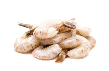 Raw Jumbo Shrimp on a White Background