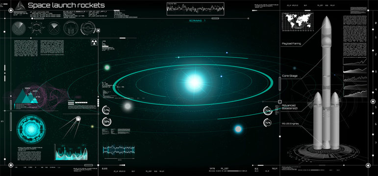 Space launch rockets in the HUD style, solar system, 3d spaceship, space satellite, stars, dashboards.  Elements pack of the Sky-fi HUD. panels Futuristic User Interface. Ui technology elements. gui