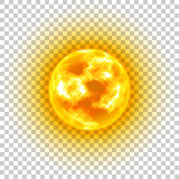 Sun, transparent background, heavenly body, cartoon, realistic. Star in center of solar system for illustrators. Vector illustration of celestial luminary