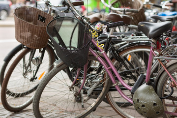 Retro bikes parked on the street in Stockholm