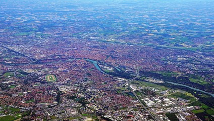 Aerial view of Toulouse and the Garonne River in Southwestern France