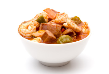 A Bowl of Cajun Seafood Gumbo on a White Background