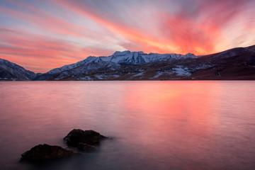 Winter sunset at Deer Creek, Utah, USA.