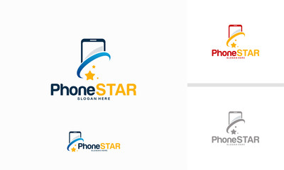 Phone Star logo designs concept vector, Bright Phone logo template designs