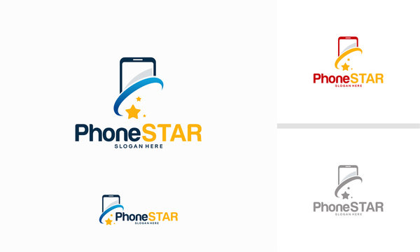Phone Star logo designs concept vector, Bright Phone logo template designs