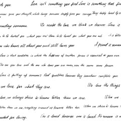Seamless pattern made of handwritten text. Phrazes and quotes about love and relationships. English words and lettern written by hand in black and white monochrome colors