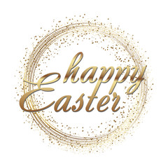 Happy Easter greeting card with gold sparkles dots and text. Vector.