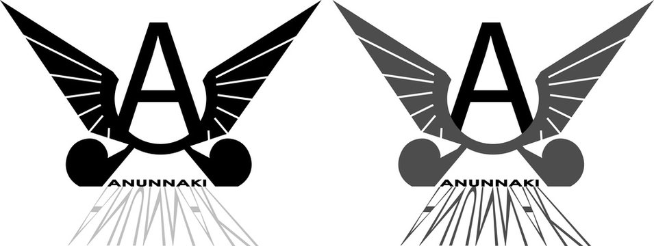 stylized pictures with A and wings anunnaki logo