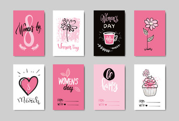Woman Day Postcards Collection Creative Hand Drawn Greeting Card For 8 March Celebration Style Vector Illustration