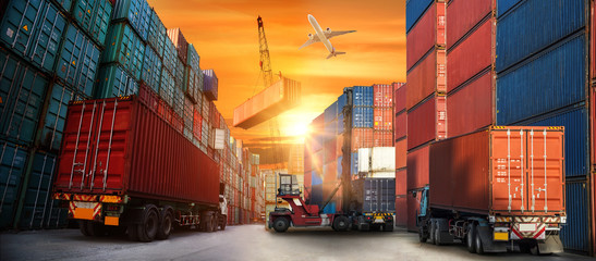 Industrial Container Cargo freight ship for Logistic Import Export concept
