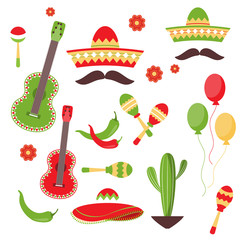Cinco de Mayo celebration in Mexico, icons set, design element, flat style.