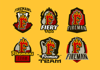 A set of colorful badge, emblems, logos, stickers on the theme of the work of firefighters. Burning letter, fire, shield, background. T-shirt printing, vector illustration