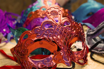 colorful beautiful masks on the table