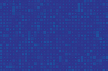 Abstract geometric pattern with small squares different size, scale. Blue color Vector illustration