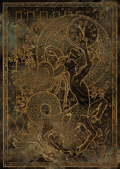 Zodiac sign Capricorn on old grunge texture background. Hand drawn fantasy graphic illustration in frame
