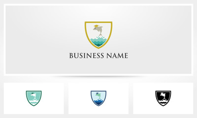 Dolphin Sea Graduation Hat Shield Logo