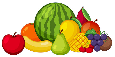 Different types of fruits on white background