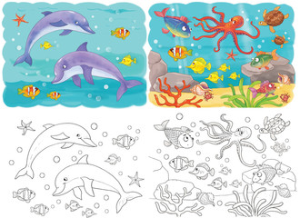 Cute sea animals. Ocean. Coloring book. Coloring page. Funny cartoon characters