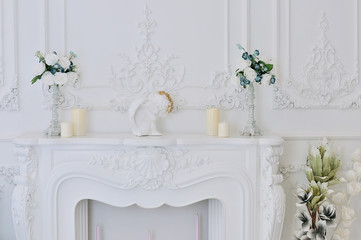 Elegant white fireplace
