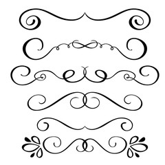 Set hand drawn flourish Calligraphy elements. Vector illustration on a white background