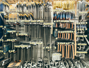 Many drill tool in DIY store