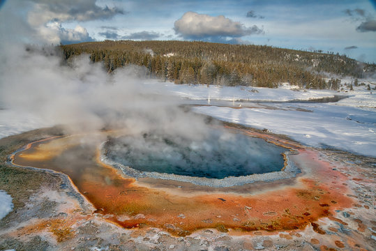 Orange Thermophyle Geyser and Hot Spring