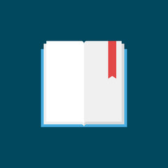Open book with bookmark flat vector icon