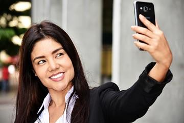 Adult Business Woman Selfie Wearing Suit