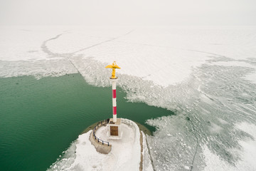 frozen lake Balaton