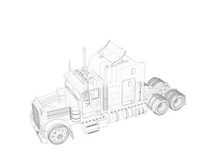 3d rendering of the truck transparent