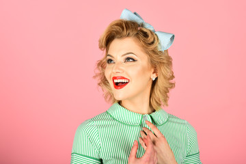 Woman With Pinup Makeup And Hair Style