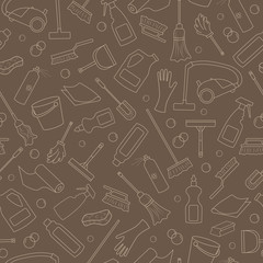 Seamless pattern on the theme of cleaning and household equipment and cleaning products, beige outline on a brown background