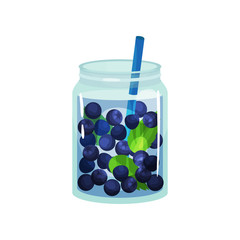 Detox cocktail with fresh blueberry and green leaves of mint. Natural and healthy beverage in glass jar with blue straw. Flat vector design for bar or cafe menu