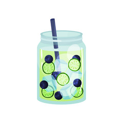 Detox cocktail with blueberry and slices of cucumber. Organic smoothie in glass jar with ice cubes and straw. Healthy refreshing drink. Flat vector for cafe or restaurant menu